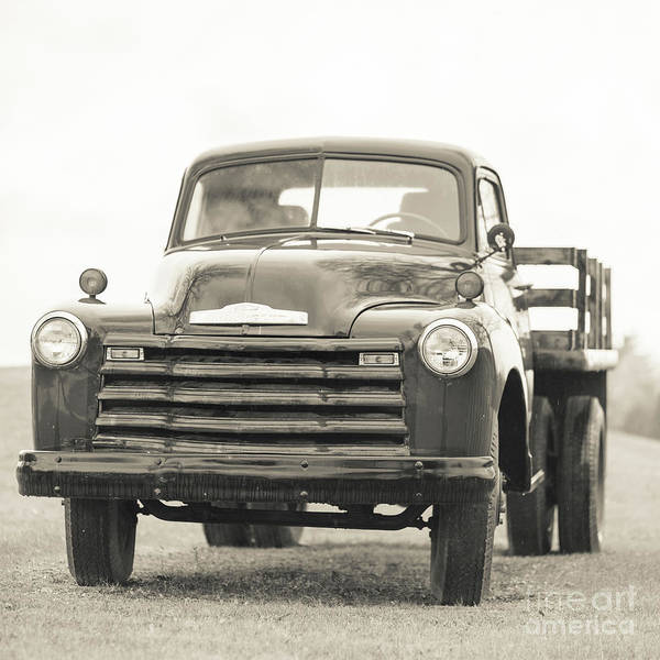 Photograph - Old Chevy Farm Truck Black And White Square by Edward Fielding