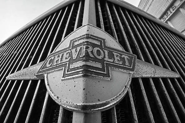 Photograph - Old Chevy Grill Lowell Arizona Az Black And White by Toby McGuire
