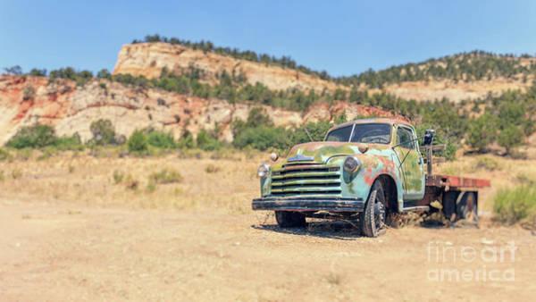 Wall Art - Photograph - Old Chevy Truck In The Desert Lens Blur by Edward Fielding