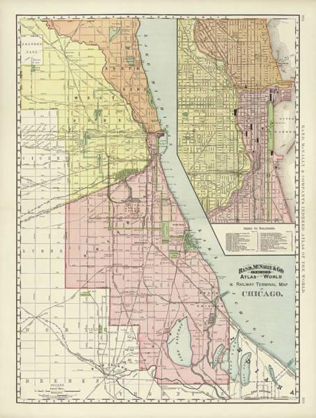 Vintage Chicago Drawing - Old Chicago Map By Rand Mcnally And Company - 1892 by Blue Monocle