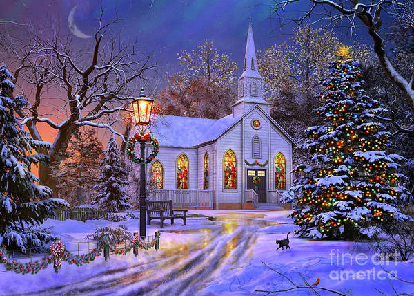 Church Digital Art - Old Church At Christmas by MGL Meiklejohn Graphics Licensing