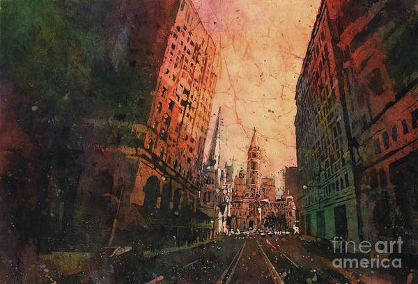 Downtown Raleigh Wall Art - Painting - Old City Hall- Philadelphia by Ryan Fox