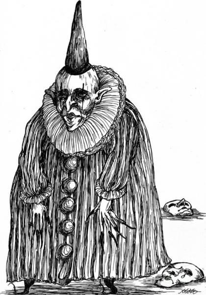 Surrealist Drawing - Old Clown by Akiko Okabe