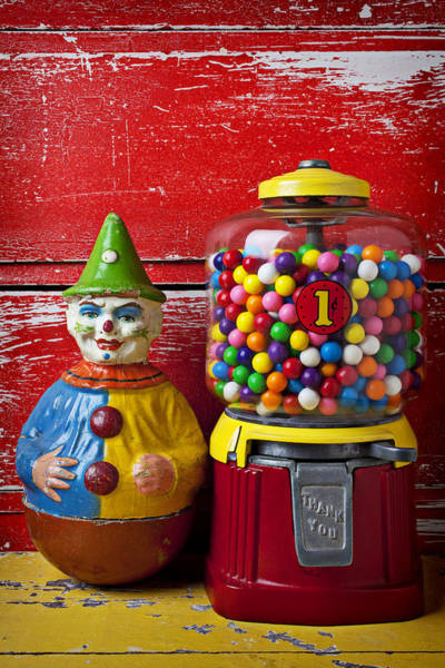 Chewing Photograph - Old Clown Toy And Gum Machine  by Garry Gay