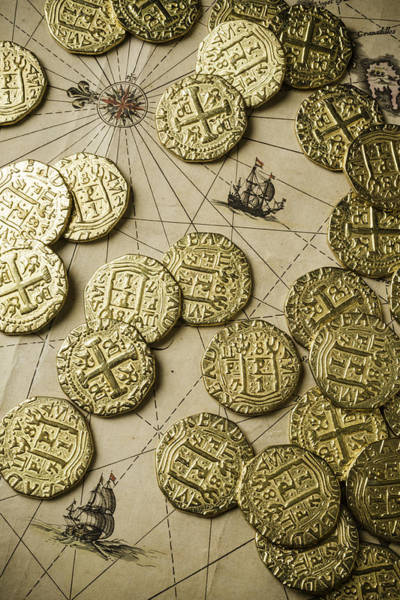 Wall Art - Photograph - Old Coins On Old Map by Garry Gay