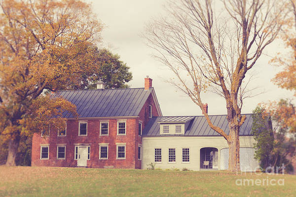 Brick House Photograph - Old Colonial Farm House Vermont by Edward Fielding
