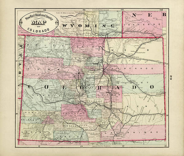Wall Art - Drawing - Old Colorado Map By George Franklin Cram - 1882 by Blue Monocle
