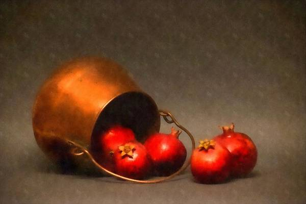 Wall Art - Photograph - Old Copper Pot With Pomegranates by Frank Wilson