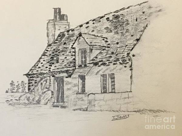 Drawing - Old Cottage by Thomas Janos