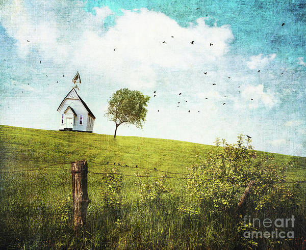 Wall Art - Photograph - Old Country School House  On A Hill  by Sandra Cunningham