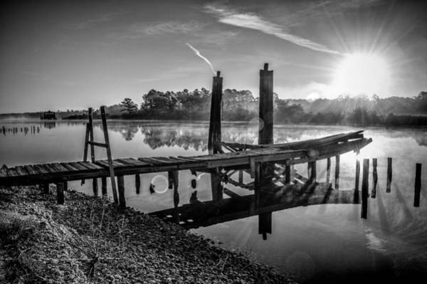 Photograph - Old Dock On The Bon Secour River Bw by Michael Thomas