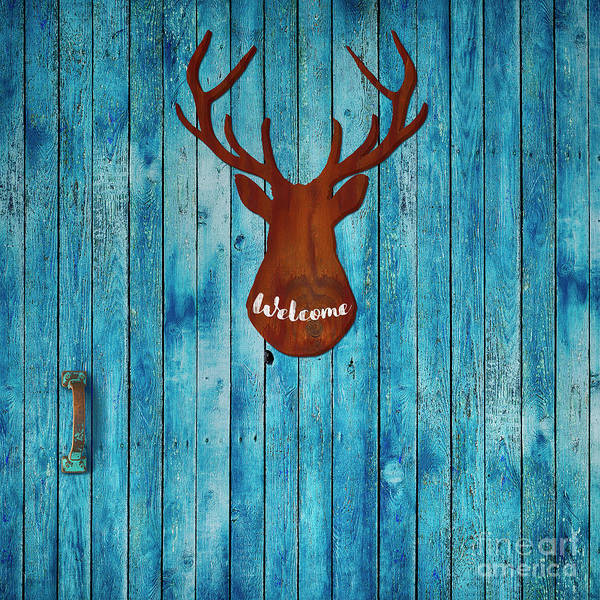 Welcome Sign Digital Art - Old Door And Stag Welcome by Tina Lavoie