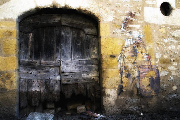 Photograph - Old Door With Street Art by Georgia Fowler