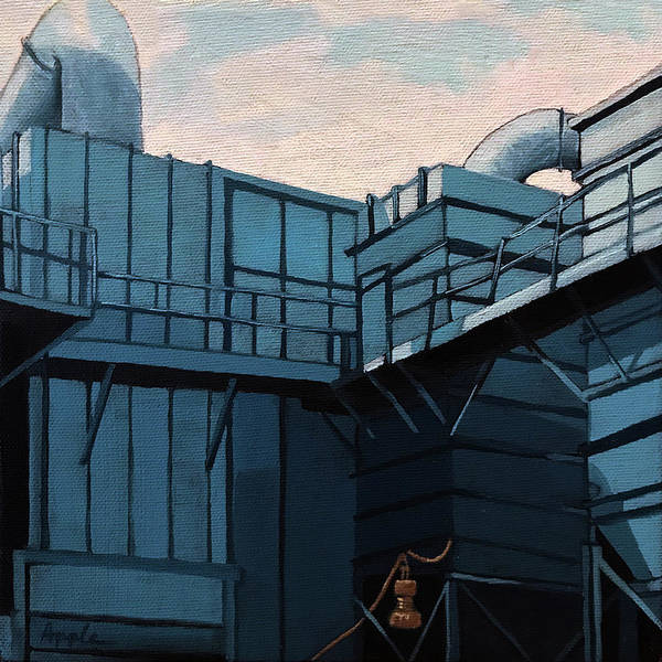 Wall Art - Painting - Old Factory Blues Painting by Linda Apple