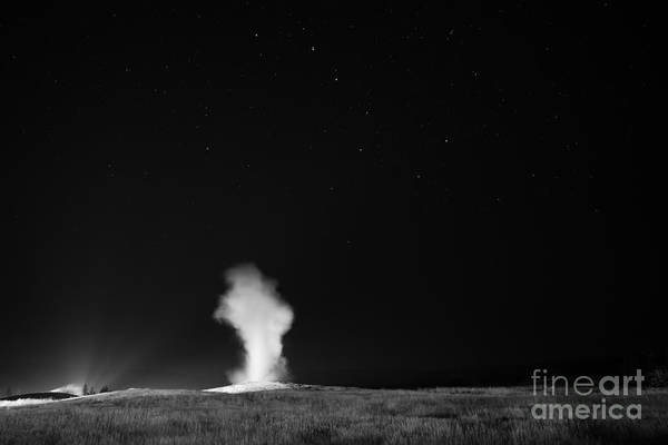 Mv Photograph - Old Faithful Big Dipper Bw by Michael Ver Sprill