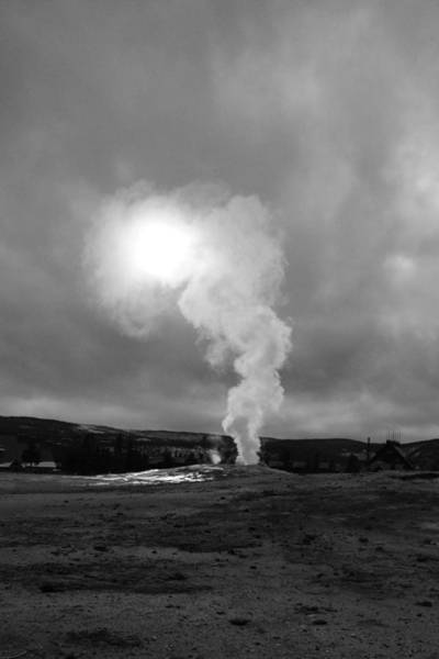 Photograph - Old Faithful Black And White Yellowstone by Pierre Leclerc Photography