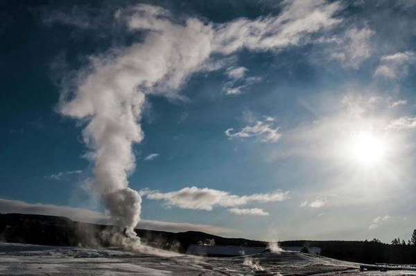 Photograph - Old Faithful Erupting At Dawn by NaturesPix