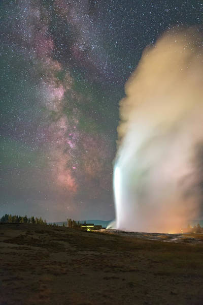 Old Faithful Erupts At Night Art Print