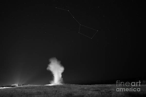Mv Photograph - Old Faithful Night Eruption Under The Big Dipper Bw by Michael Ver Sprill