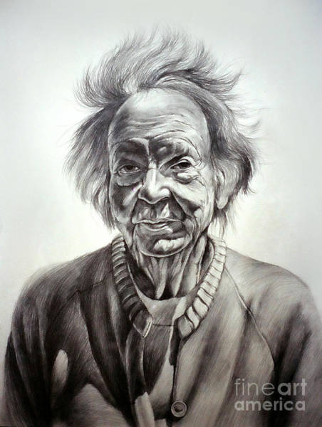 Drawing - Old Farm Lady by Christopher Shellhammer