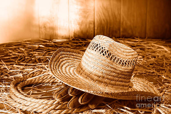 Wall Art - Photograph - Old Farmer Hat In Hay Barn - Sepia by Olivier Le Queinec