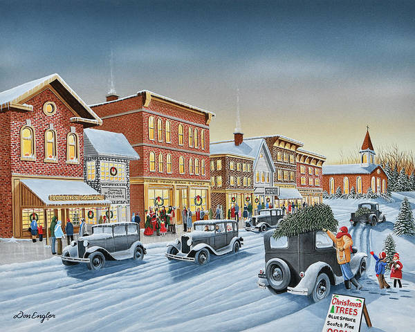 Snow Bank Painting - Old Fashion Christmas by Don Engler