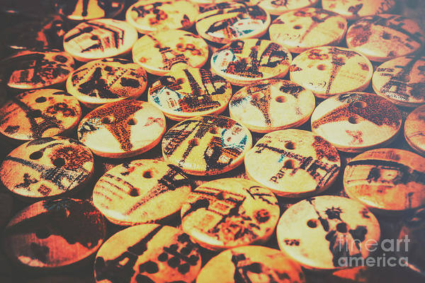 Making Wall Art - Photograph - Old Fashion Landmark Buttons by Jorgo Photography - Wall Art Gallery