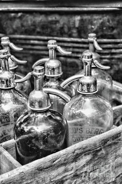 Wall Art - Photograph - Old Fashion Seltzer Bottles In Black And White by Paul Ward