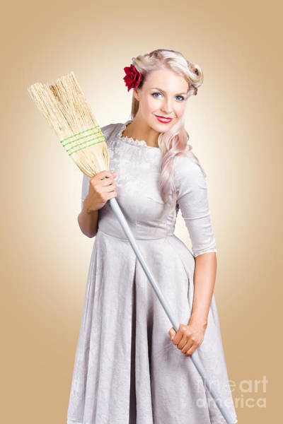Photograph - Old Fashion Woman Spring Cleaning With Broom by Jorgo Photography - Wall Art Gallery