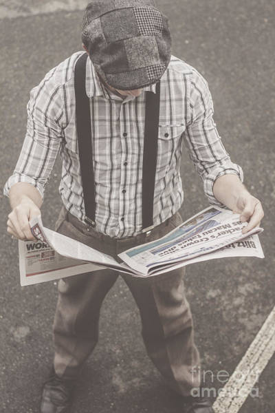 Tabloids Photograph - Old-fashioned Man Perusing The Latest Newspaper by Jorgo Photography - Wall Art Gallery