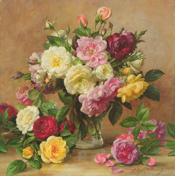 Pretty In Pink Wall Art - Painting - Old Fashioned Victorian Roses by Albert Williams
