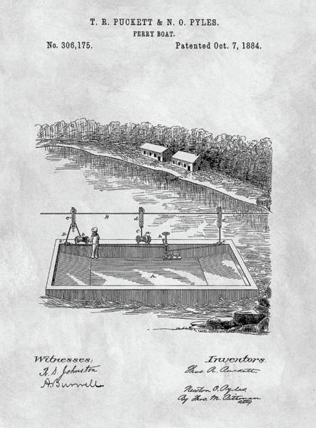 Drawing - Old Ferryboat Patent by Dan Sproul