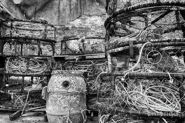 Astoria Photograph - Old Fishing Gear In Black And White by Paul Quinn