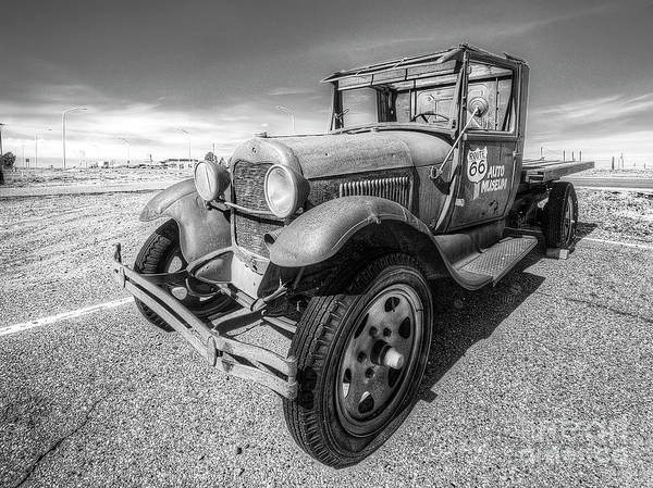 Santa Rosa Photograph - Old Flatbed Along Route 66 In Black And White by Twenty Two North Photography