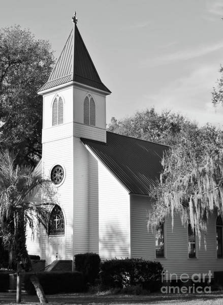 Photograph - Old Florida Church Black And White by D Hackett