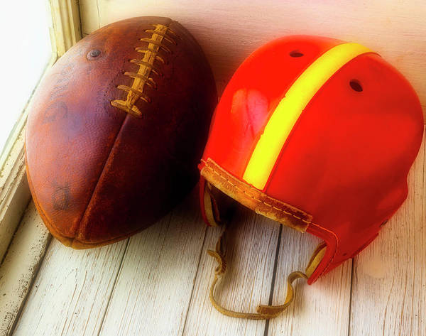 Wall Art - Photograph - Old Football And Helmet In Window by Garry Gay