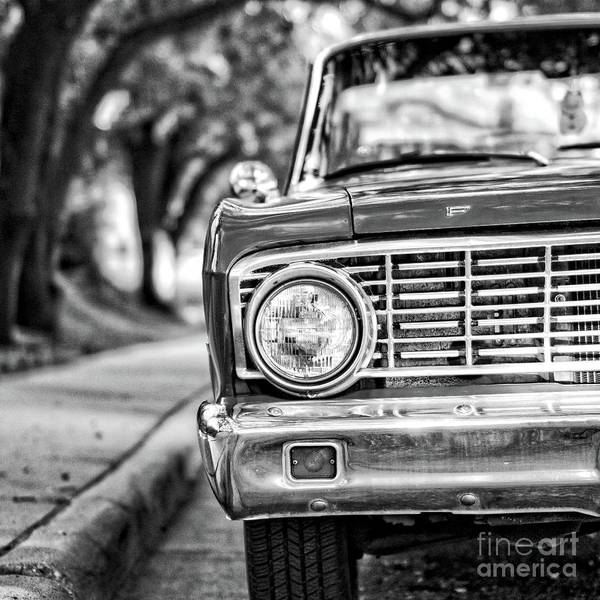 Photograph - Old Ford Car Square Black And White by Edward Fielding