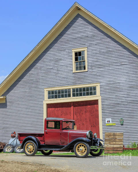 New England Barn Photograph - Old Ford Model A Pickup In Front Barn by Edward Fielding