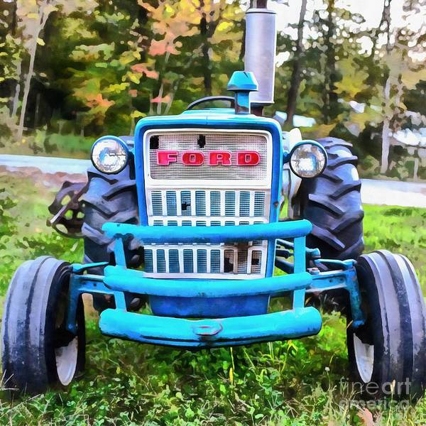 Painting - Old Ford Tractor Acrylic by Edward Fielding