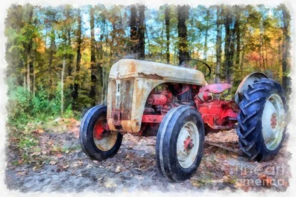 Digital Art - Old Ford Tractor Watercolor by Edward Fielding
