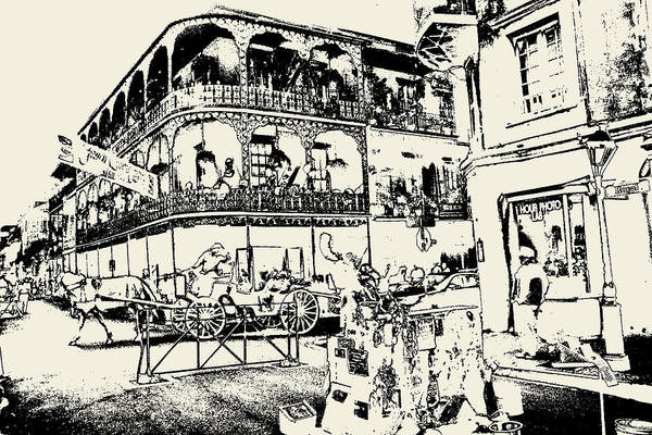 Drawing - Old French Quarter New Orleans - Ink by Peter Potter