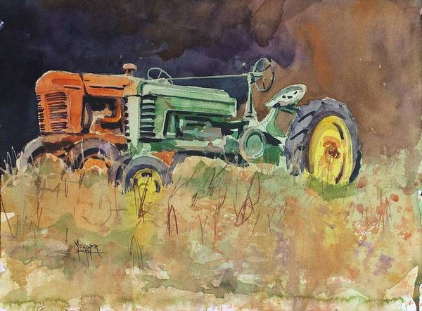 Vintage Tractor Painting - Old Friends by Spencer Meagher
