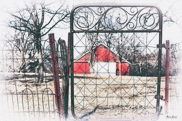 Photograph - Old Gate Red Barn View by Anna Louise