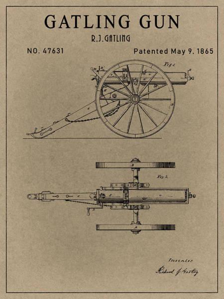Drawing - Old Gatling Gun Design  by Dan Sproul