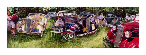 Car Show Painting - Old Glories by Mike Hill