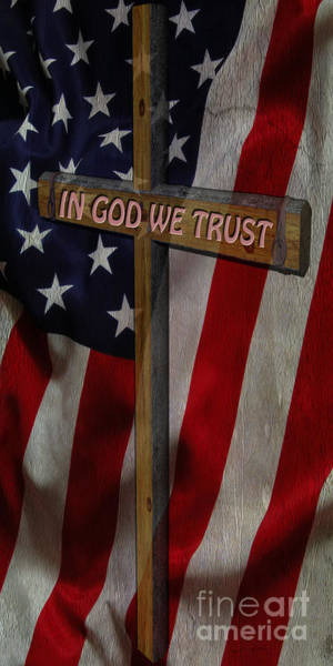 In God We Trust Photograph - Old Glory And The Cross by Beverly Guilliams