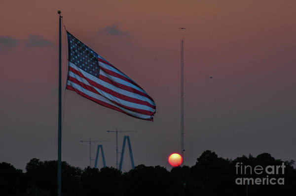 Photograph - Old Glory At Sunset  by Dale Powell