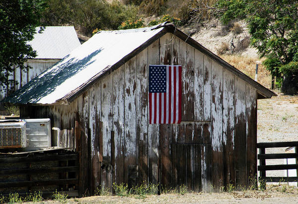 Wall Art - Photograph - Old Glory Barn American Flag by Barbara Snyder