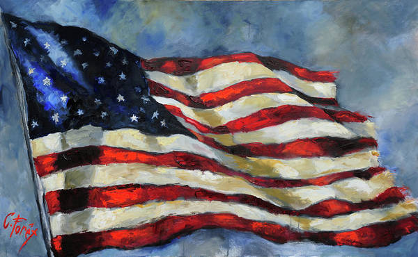 Wall Art - Painting - Old Glory by Carole Foret