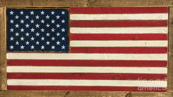 Photograph - Old Glory Displayed On Wood by Dale Powell